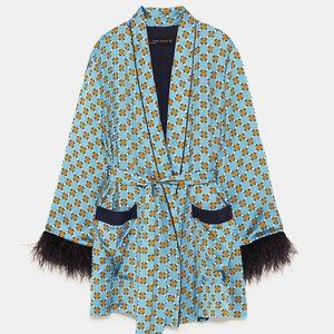 Zara Flowing blazer feather Retro Boho Kimono